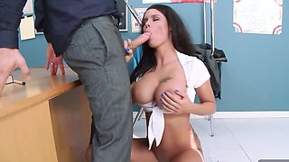 Busty brunette bad girl gets banged by her teacher