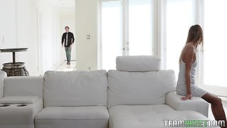 Naughty mommy Rachael Cavalli gives a blowjob to her stepson and enjoys spying on him and his GF