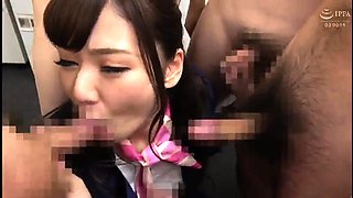 Lovely Japanese schoolgirl takes on a gang of stiff cocks