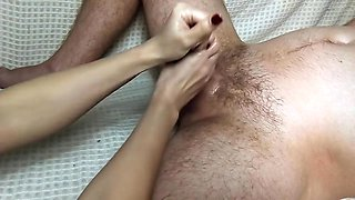 Perfect handjob with red nails. Amateur handjob. Milk man dick