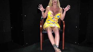 Huge tit blonde sucking cum out of cocks