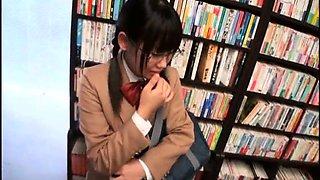Nerdy Japanese schoolgirl sucks and fucks a hard prick