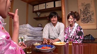 Japanese geisha gets fucked while her girlfriend is asleep