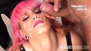 Premium bukkake pink charlotte swallows 45 huge cumshots