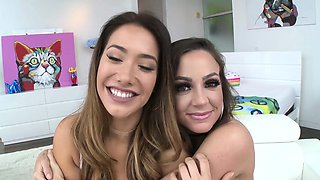 SWALLOWED Abigail and Eva Lovia deepthroating fat pole