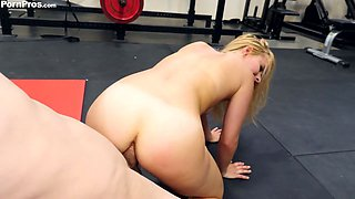 Right after stroking dick naughty Lilly Lit gets hammered doggy in the gym