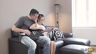 OLD4K. Old guitarist permits young fan to play with his cock