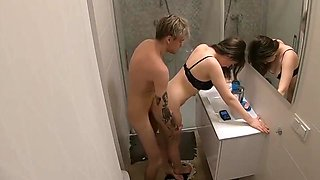 Sexy couple bathroom sex in hotel room