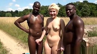 French PAWG has Threesome Gangbang in field