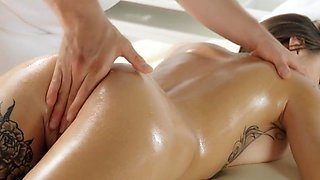 Oiled massage leads to passionate fucking with tattooed Liya Silver
