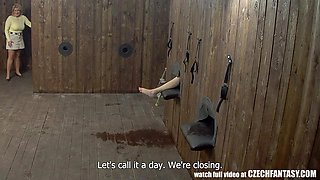 naughty babes get fucked behind gloryholes