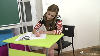 TeenModels - Domi in her school outfit Domi