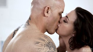 Bald headed dude can't resist fucking sex-starved wife's friend Whitney Wright