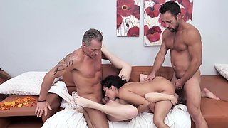 Naked women swap partners in rough XXX home foursome
