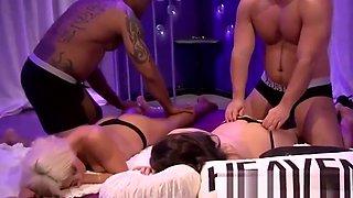 Amateur swingers having massage in reality show