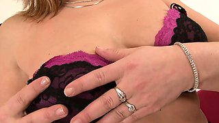 Blonde MILF lets him cum in her mouth after taking her ass