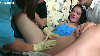 Doc assists with hymen examination and defloration of virgin teen