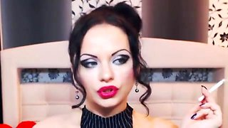 beautiful makeup erotic smoking style teasing