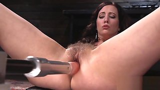 Big ass and big tits babe fucks machine