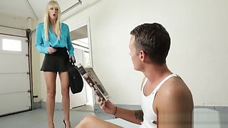 Blonde Step Mommy Helps Step Son By Giving Head