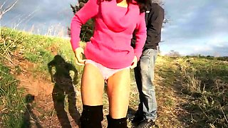 Slutty brunette milf gets pounded doggystyle in the outdoors