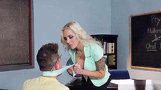 Blonde Cougar gets Him off in School