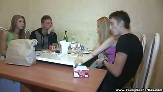 Blonde DPed at home sex party