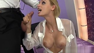 Busty glamour babe Erica Fontes gives sloppy wet deep blowjob