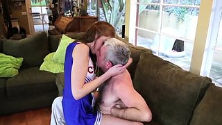 compeer's daughter catches mom and bf in kitchen Cheerleader