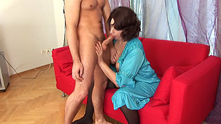 Russian Granny assfucked and creampied