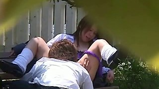 Japanese School Girl Outdoor Campus Fuck