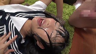 Cute Japanese Girl Get Bukkake 3