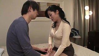 Good-looking breasty oriental mom Hisayo Nanami makes sensuous blowjob