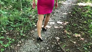 Strolling in stockings and heels