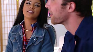 Sexy and aggressive teen Maya and her tight pussy gets filled