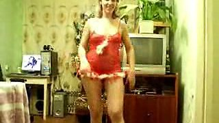 Older woman strips naked
