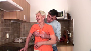 Viviana & Dieter skinny hairy granny in kitchen with Dieter