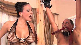 Mistress belting slave