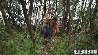 Brutal dude fucks pretty hot hitchhiker Kaylee Banks in the forest