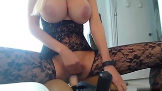 Blonde girl with big nice boobs and dildo riding