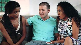 BadMILFS - Horny Ebony Mom Fucks Daughters BF