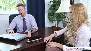 Blonde secretary screwed brutally in the office by handsome boss