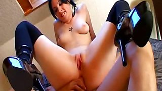 Slutty french emo gf fucked in her leather boots