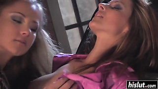 Two girls moan while they masturbate together