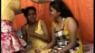 Desi, Indian, twosome to lesbian threesome