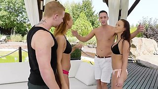 Insane cock swapping in the outdoors with two fine ass bitches