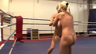 Sexy blondes with big tits enjoy wrestling