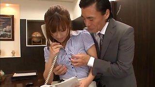 Kokone Mizutani lusty Asian milf fucks in the office