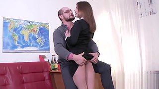 Ideal schoolgirl gets teased and shagged by her aged teacher