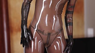 Latex Catsuit in Smokey Transparent